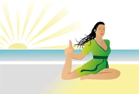 meditates: The girl in a green dress meditates on a beach Illustration