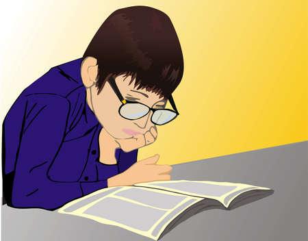 dull: El chico Lee atentamente el libro.