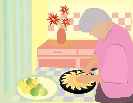 pastel de manzana: La abuela est� cocinando una tarta de manzana.