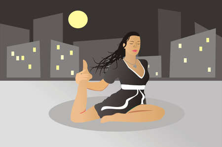 clarity: The girl is engaged in yoga on a roof of the house at night. Illustration