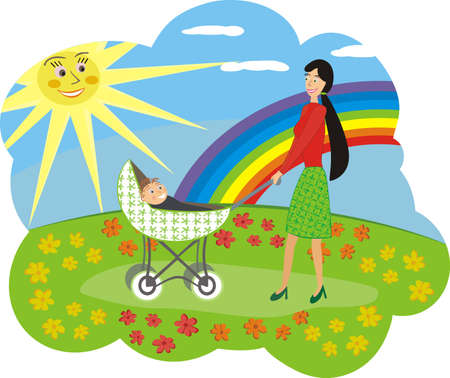 clearing: Happy mum with the child walks on a flower glade Illustration