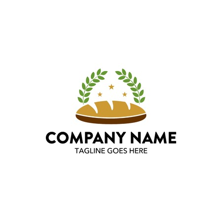 Bread with leaves bakery logo Illustration