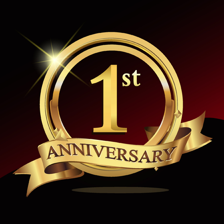 one years golden anniversary logo celebration with ring and ribbon. Ilustracja