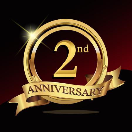 Celebración del logotipo del aniversario dorado de los 2dos años con el anillo y la cinta. Foto de archivo - 72308454