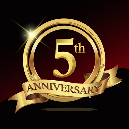 5th years golden anniversary logo celebration with ring and ribbon. Vettoriali