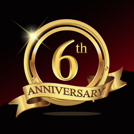 6th years golden anniversary logo celebration with ring and ribbon.