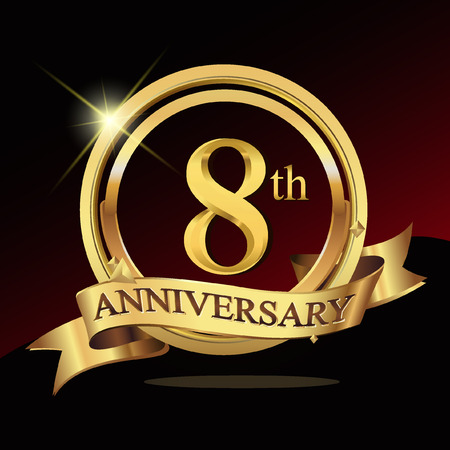 8th years golden anniversary logo celebration with ring and ribbon.