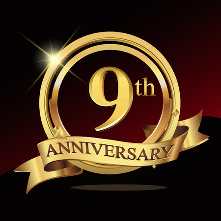 9th years golden anniversary logo celebration with ring and ribbon.