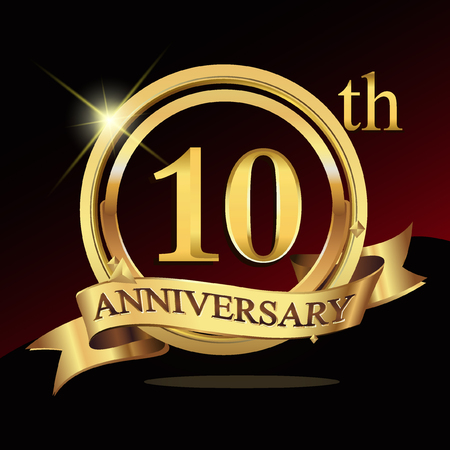 10th years golden anniversary logo celebration with ring and ribbon. Vectores