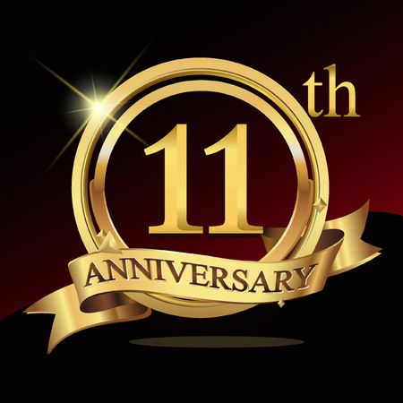 11th: 11th years golden anniversary logo celebration with ring and ribbon.