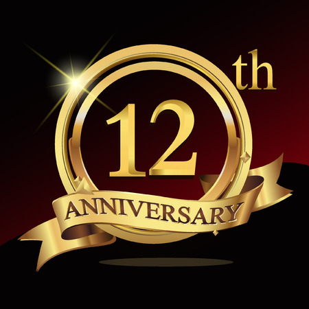 12th years golden anniversary logo celebration with ring and ribbon.