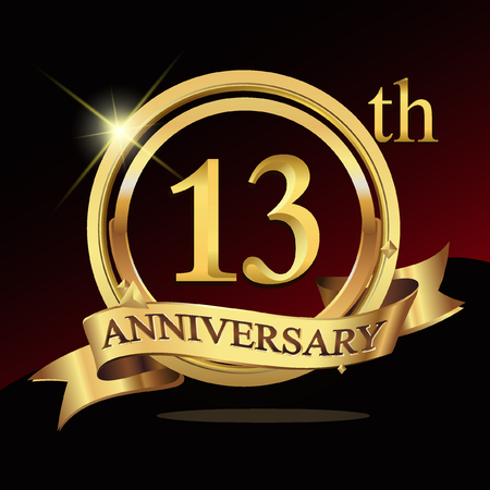 13th years golden anniversary logo celebration with ring and ribbon. Vettoriali