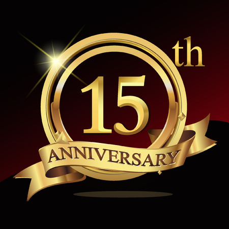 15th years golden anniversary logo celebration with ring and ribbon.