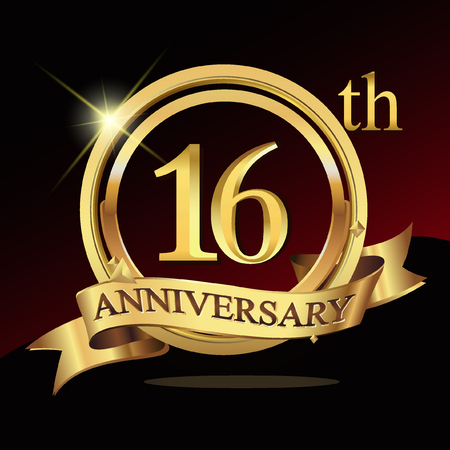 16th years golden anniversary logo celebration with ring and ribbon.