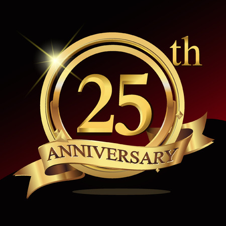 25th years golden anniversary logo celebration with ring and ribbon.