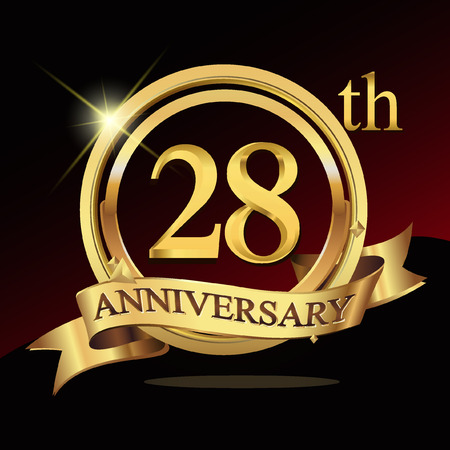 28th years golden anniversary logo celebration with ring and ribbon.