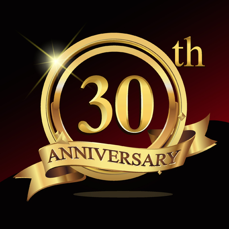 30th years golden anniversary logo celebration with ring and ribbon.