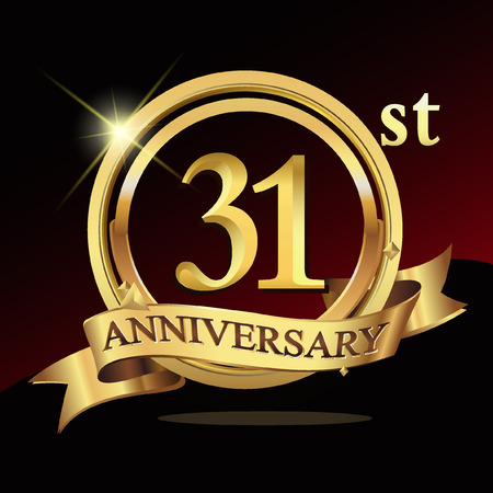 31st years golden anniversary logo celebration with ring and ribbon.
