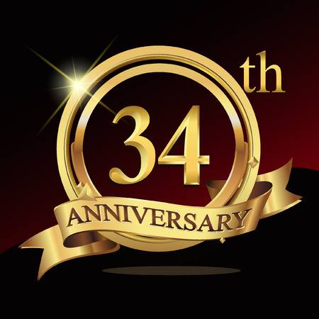 34th years golden anniversary logo celebration with ring and ribbon.