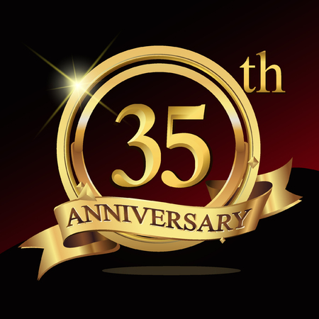 35th years golden anniversary logo celebration with ring and ribbon.