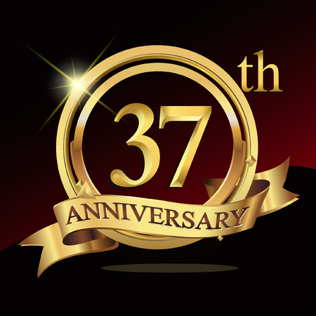37th years golden anniversary logo celebration with ring and ribbon.