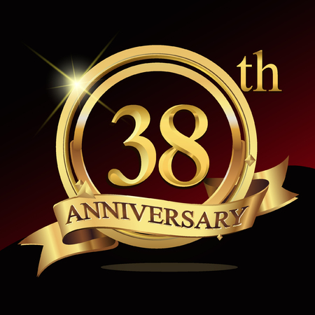 38th years golden anniversary logo celebration with ring and ribbon.