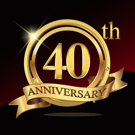 40th years golden anniversary logo celebration with ring and ribbon. Stock Illustratie