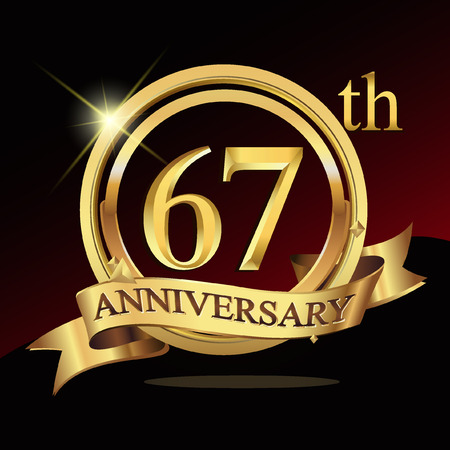 celebration: 67 years golden anniversary logo celebration with ring and ribbon. Illustration
