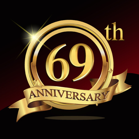 golden ribbon: 69 years golden anniversary logo celebration with ring and ribbon.
