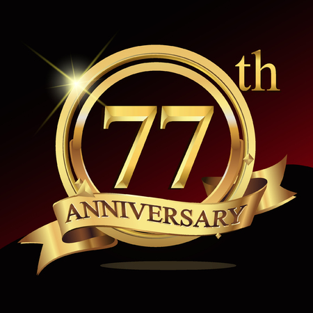 77 years golden anniversary logo celebration with ring and ribbon.