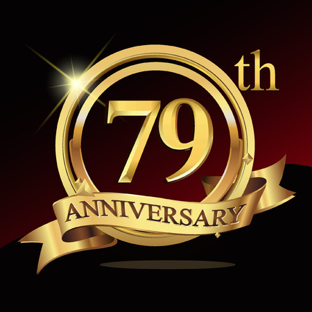 79 years golden anniversary logo celebration with ring and ribbon. Stock Illustratie