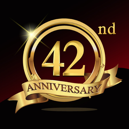 42 years golden anniversary logo celebration with ring and ribbon.
