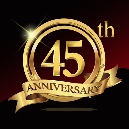 45th: 45 years golden anniversary logo celebration with ring and ribbon.