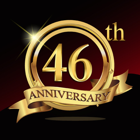 46 years golden anniversary logo celebration with ring and ribbon. Vettoriali