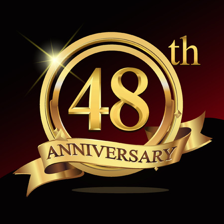 commercial event: 48 years golden anniversary logo celebration with ring and ribbon. Illustration