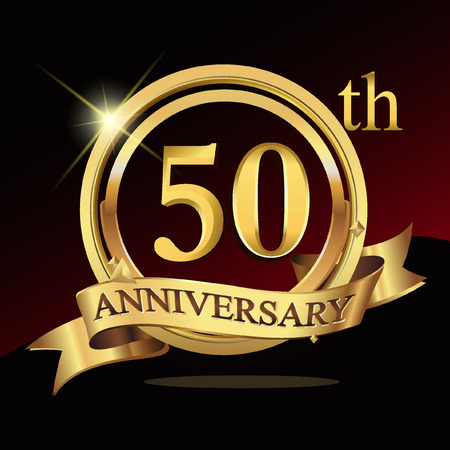 50 years golden anniversary logo celebration with ring and ribbon. Stock Illustratie