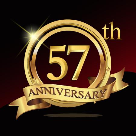 57 jaar gouden verjaardag logo viering met ring en lint. Stock Illustratie