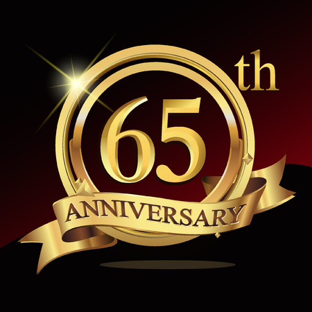 65 years golden anniversary logo celebration with ring and ribbon. Vettoriali