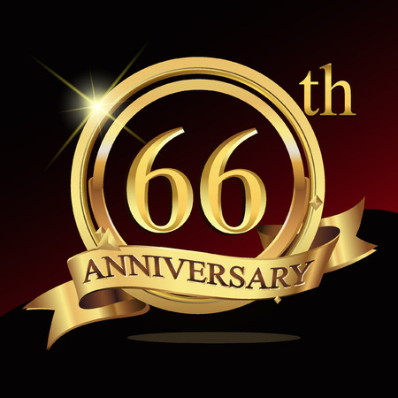 66 years golden anniversary logo celebration with ring and ribbon.