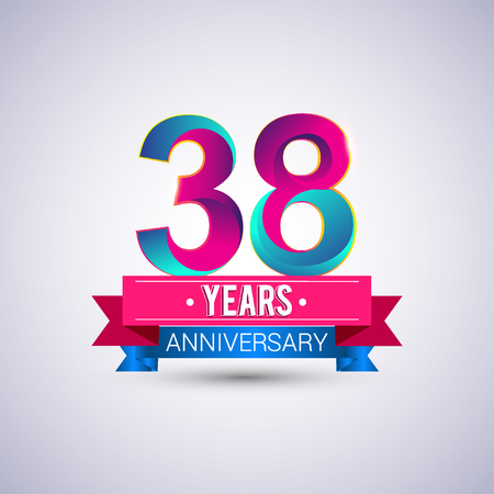 38 years anniversary logo, blue and red colored vector design