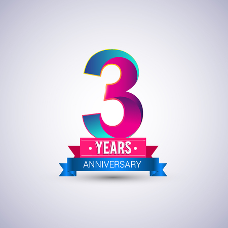 3 years anniversary logo, blue and red colored vector design