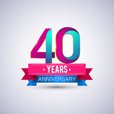 40 years anniversary logo, blue and red colored vector design