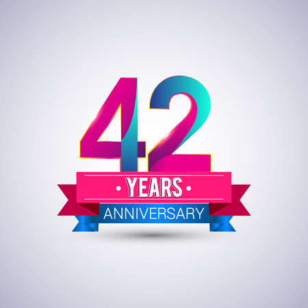 42 years anniversary logo, blue and red colored vector design