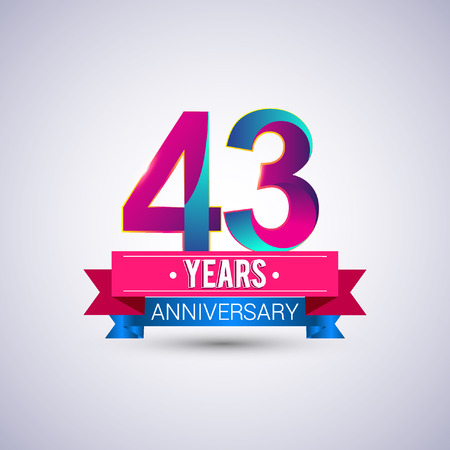 43 years anniversary logo, blue and red colored vector design Illustration