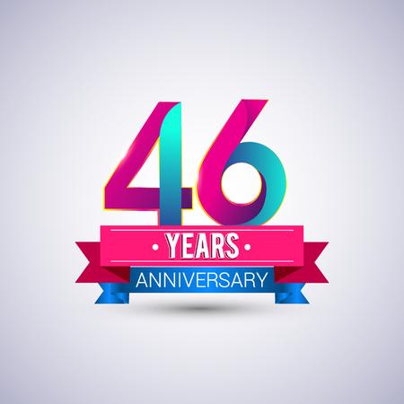 46 jaar jubileumlogo, blauw en rood gekleurd vectorontwerp Stock Illustratie