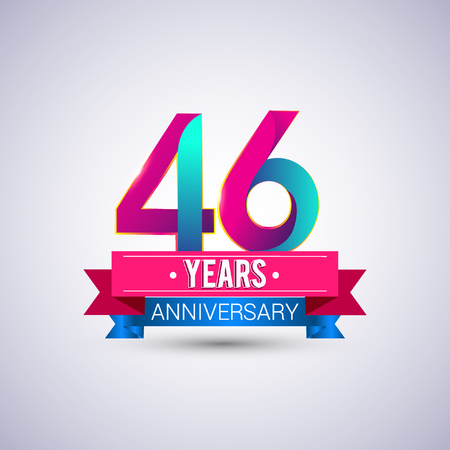 46 years anniversary logo, blue and red colored vector design