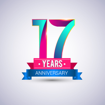 17 years anniversary logo, blue and red colored vector design Illustration