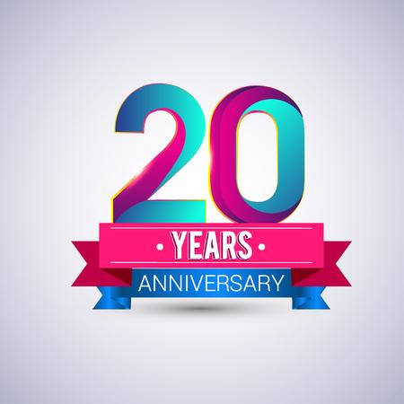 20 주년 기념 로고, 파랑 및 빨강 색의 벡터 디자인