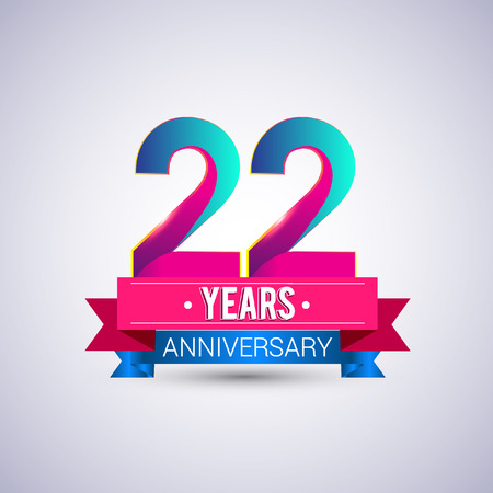 22 years anniversary logo, blue and red colored vector design Vettoriali