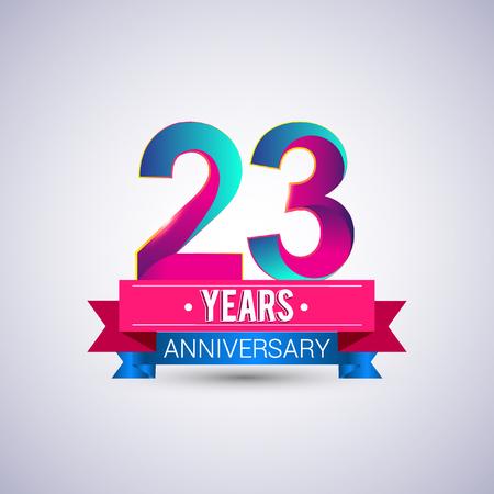 23 jaar jubileumlogo, blauw en rood gekleurd vectorontwerp